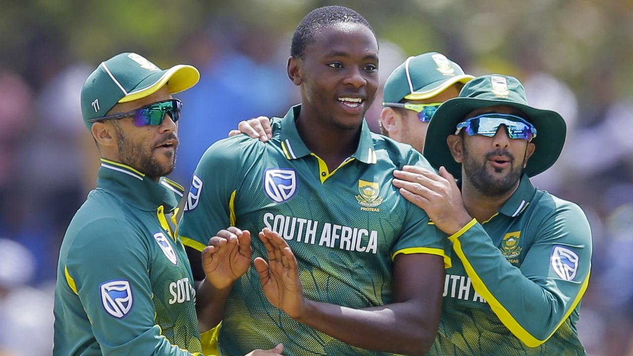 Rabada (pictured) and Shamsi claimed four wickets each to help bowl out Sri Lanka for 193.
