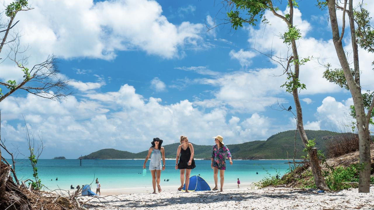 The magical Whitsundays, where the skies are bluer, the air is warmer and the sea shimmers with the promise of carefree days. Picture: TEQ