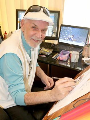 Larry Pickering drawing at home as he battles terminal cancer. Picture: Mike Batterham