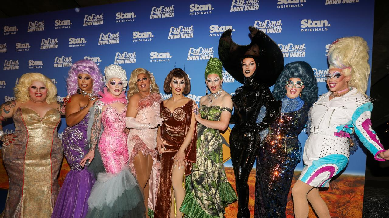 Maxi Shield, Coco Jumbo, Art Simone, Jojo Zaho, Etcetera Etcetera, Kita Mean, Scarlet Adams, Karen From Finance and Anita Wigl'it at the premiere of RuPaul's Drag Race Down Under in Sydney. Picture: Caroline McCredie/Getty Images