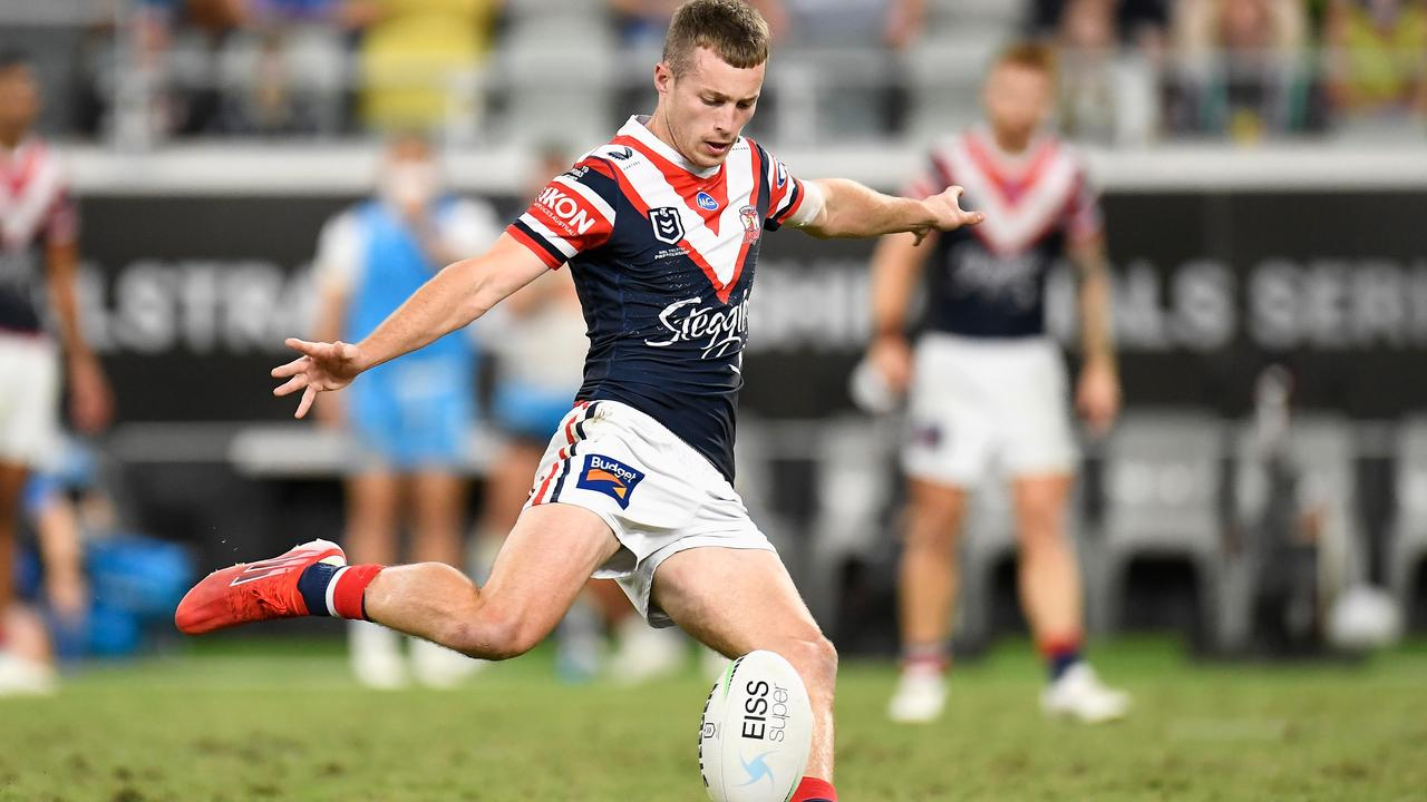 Sam Walker kicks the winning field goal for the Roosters. Photo by Ian Hitchcock/Getty Images