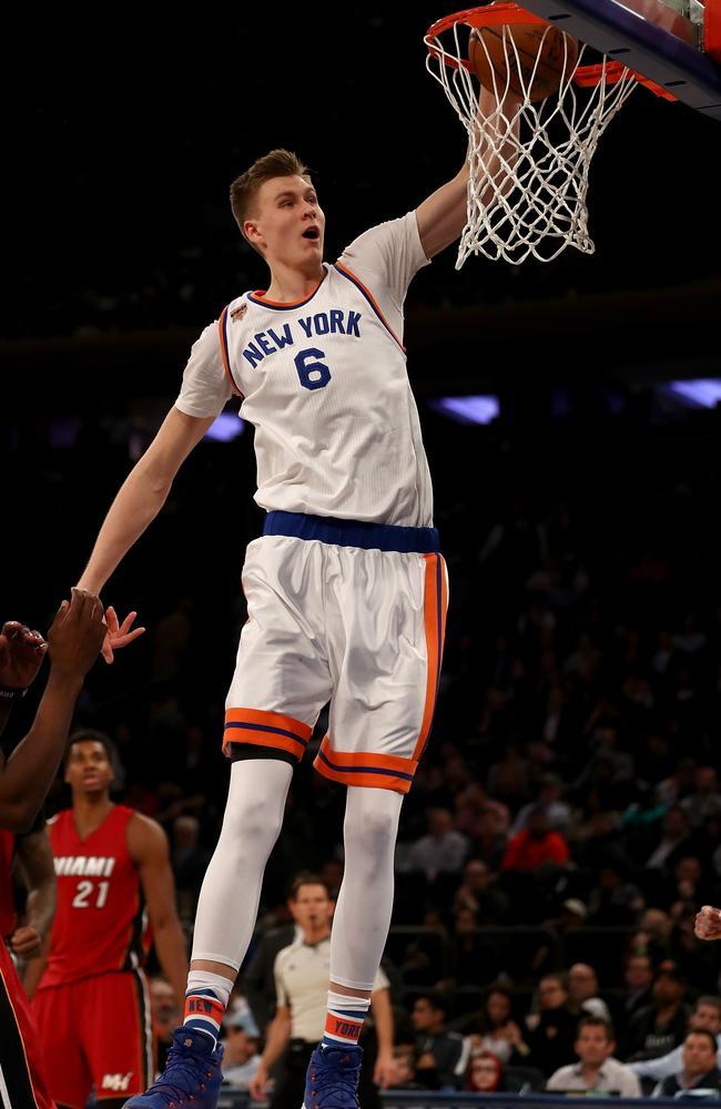 Kristaps Porzingis #6 of the New York Knicks.