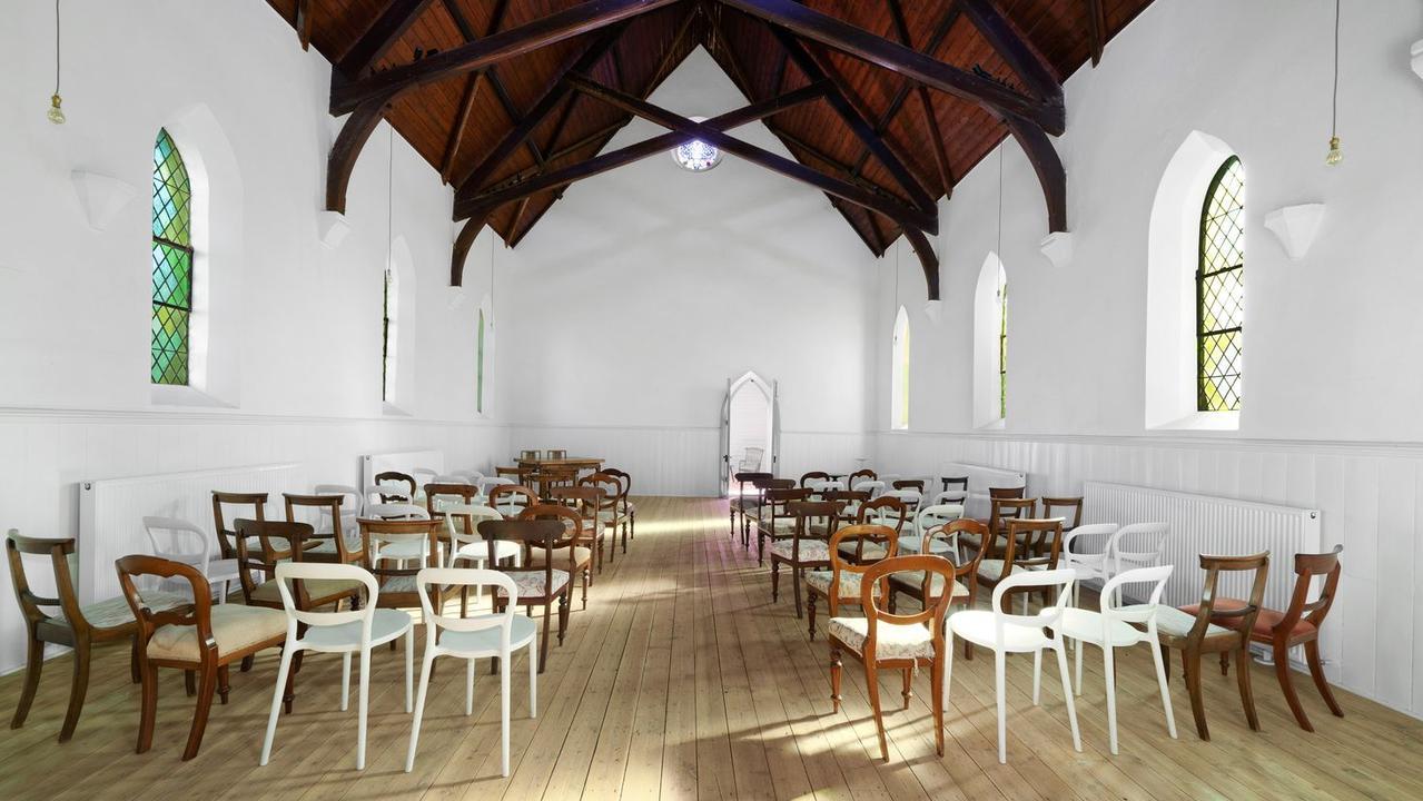 Inside the bluestone church.