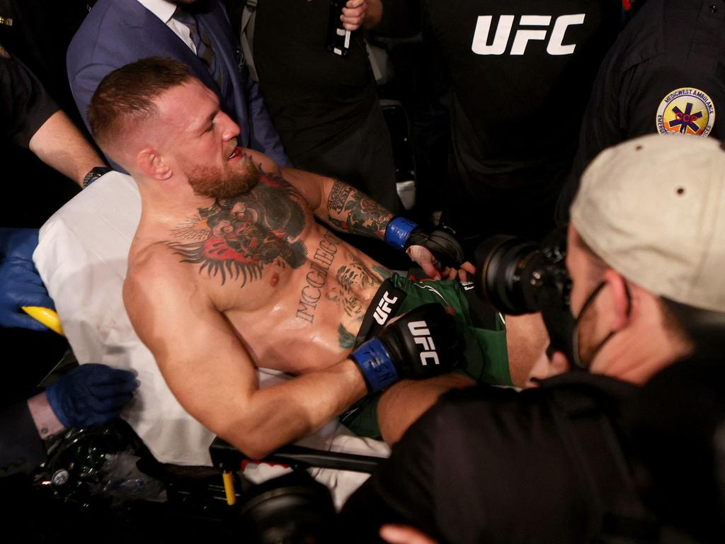 McGregor will be out of action for at least a year after he suffered a nasty ankle injury in his fight with Dustin Poirier (Photo by Stacy Revere / GETTY IMAGES NORTH AMERICA / AFP)