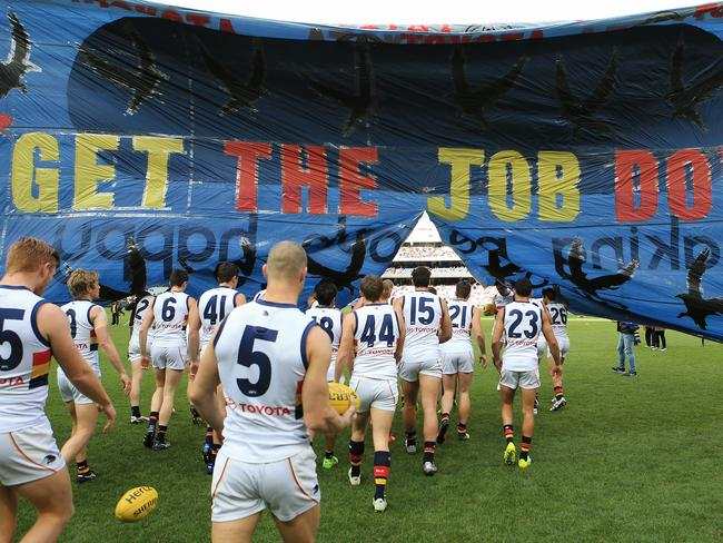 Adelaide's tribute banner for Phil Walsh. Picture: Wayne Ludbey