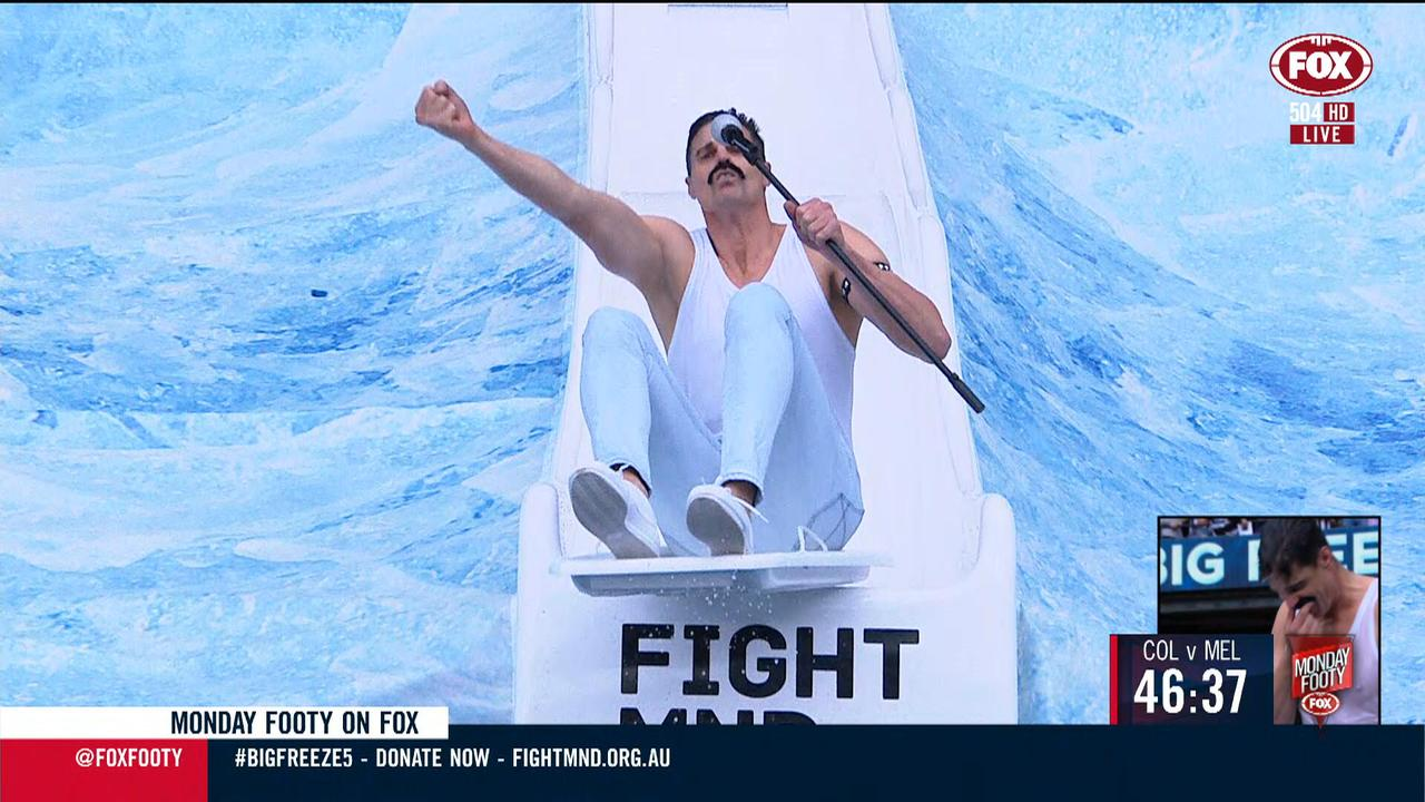 Nick Riewoldt, dressed as Freddie Mercury, at the Big Freeze at the 'G 5.