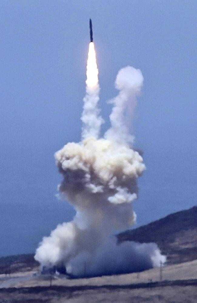 An rocket designed to intercept an intercontinental ballistic missiles is launched from Vandenberg Air Force Base in California on May 30. The Pentagon says it has shot down a mock warhead over the Pacific in a success for America's missile defence program. The test was the first of its kind in nearly three years. And it was the first test ever targeting an intercontinental-range missile like North Korea is developing. Picture: Matt Hartman via AP
