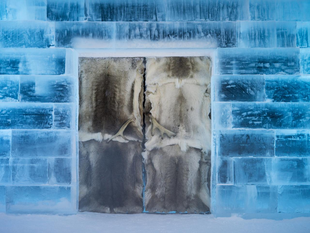 ESCAPE: ICE HOTEL, SWEDEN .. David Evans story .. unique doorway at the hotel. Picture: David Evans