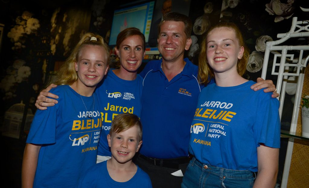 The LNP Member for Kawana Jarrod Bleijie with his family at Parklands Tavern, Sally, Taylor, Madison and Jasper. Picture: john mccutcheon