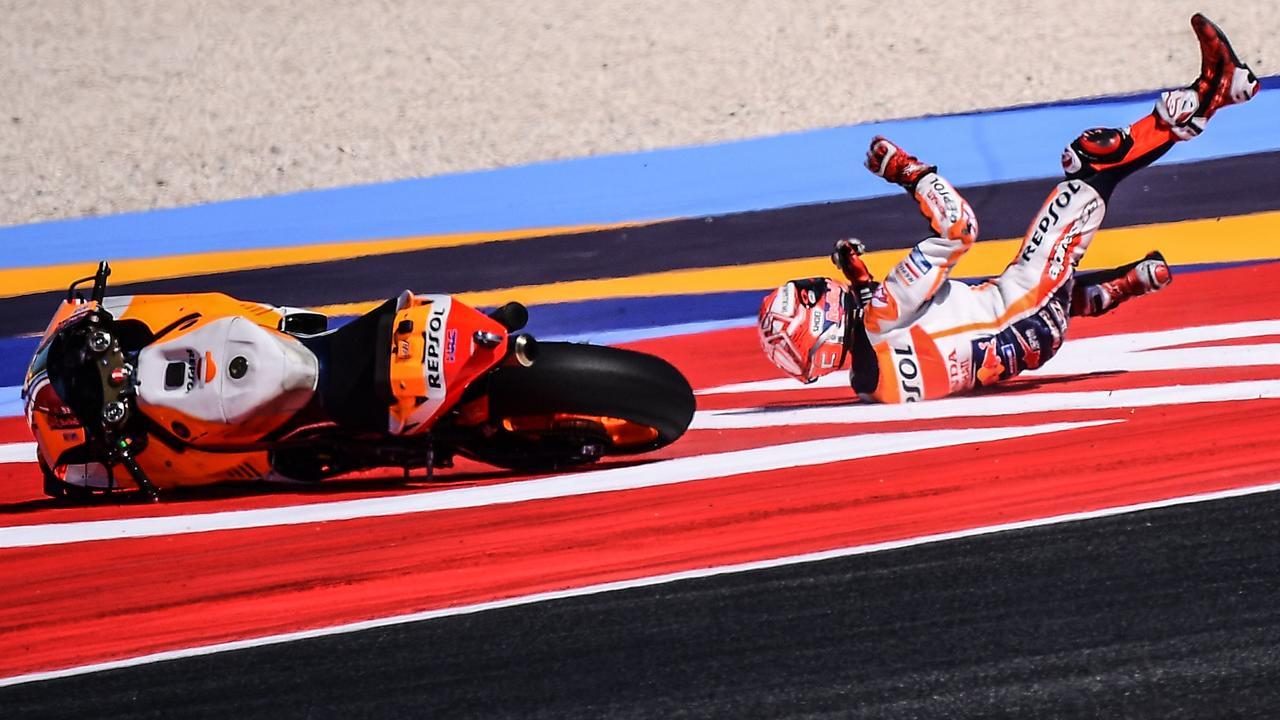 Marc Marquez falls at Misano.