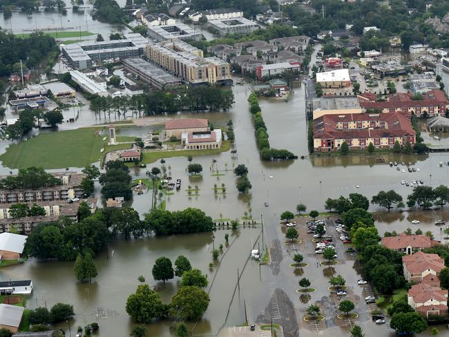 This aerial image shows flooded areas on the campus of LSU, in Baton Rouge. Picture: AP.