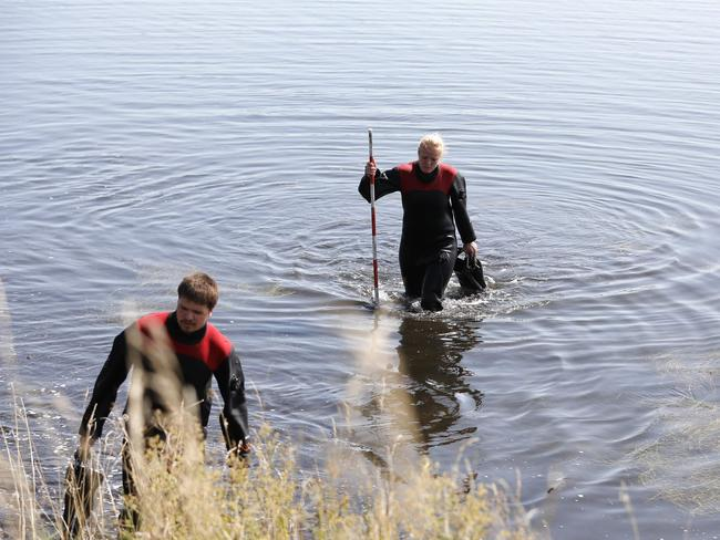 Members of The Danish Emergency Management Agency (DEMA) search for Kim Wall's body parts. Picture: Scanpix Denmark