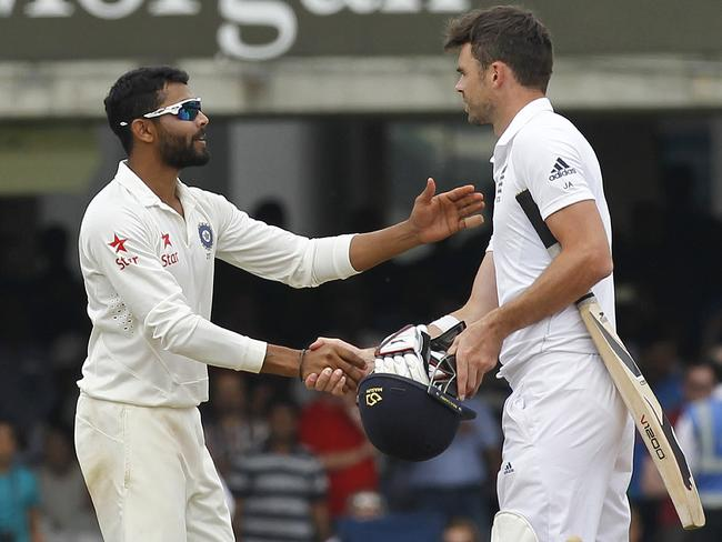 Ravindra Jadeja (L) and James Anderson (R) are central figures in the bad blood between England and India.