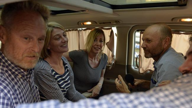 The 60 Minutes crew leave the Beirut prison with Sally Faulkner.