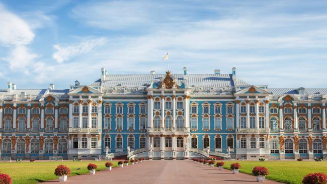 Catherine Palace - St Petersburg, Russia No, it's not named after Catherine the Great (who featured in the history-comedy 'The Great' TV-series). This epic rococo palace is in fact named after Peter the Great's wife, also named Catherine, with work beginning in 1717.