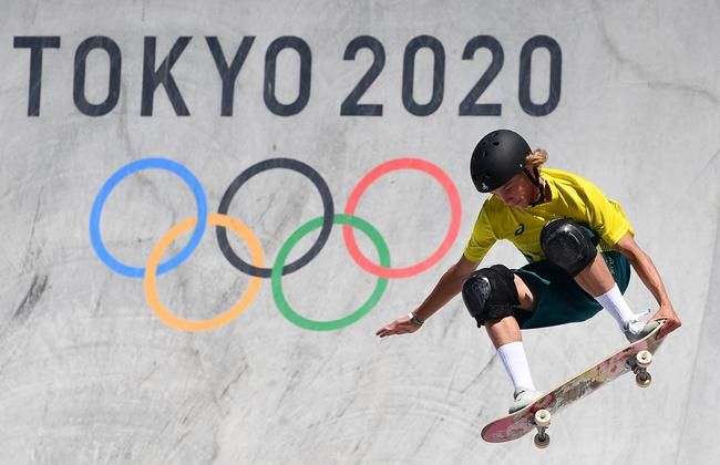 Up in the air – Australia's Keegan Palmer competes in the men's park heats. Picture: Lois Venance / AFP