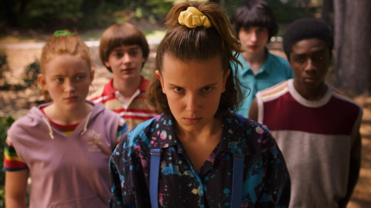 Sadie Sink, Noah Schnapp, Millie Bobby Brown, Finn Wolfhard and Caleb McLaughlin in a scene from season three of Stranger Things. Picture: Supplied by Netflix.
