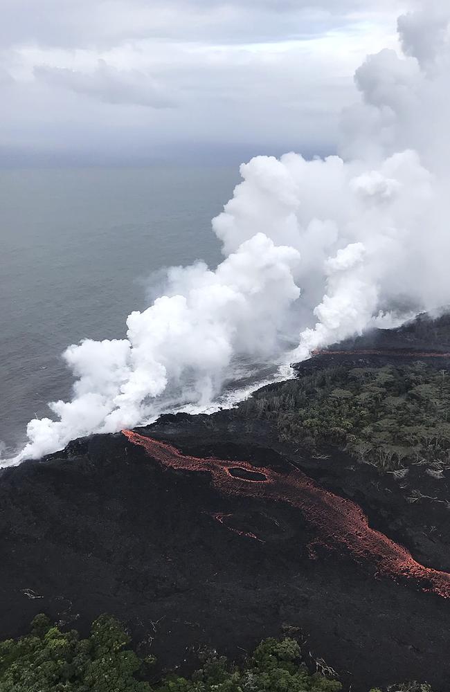 Lava enters the sea near Pahoa. Picture: US Geological Survey via AP