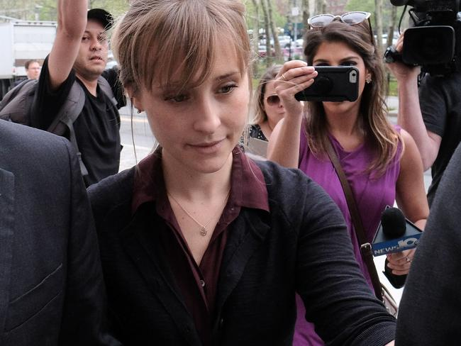 Allison Mack arrives for a hearing in relation to sex trafficking charges. Prosecutors say she recruited women to NXIVM that turned them into sex slaves. Picture: Getty
