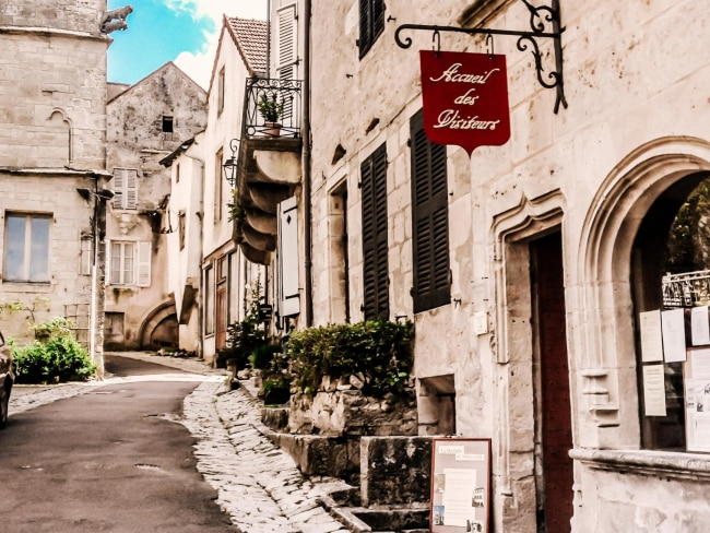 Chocolat: Flavigny-Sur-Ozerain, FranceA delicious morsel of a film, its filming location is almost as tasty. Flavigny-Sur-Ozerain in the Côte-d'Or is a pretty medieval village which has been entered into Les Plus Beaux Villages de France - très jolie, non?