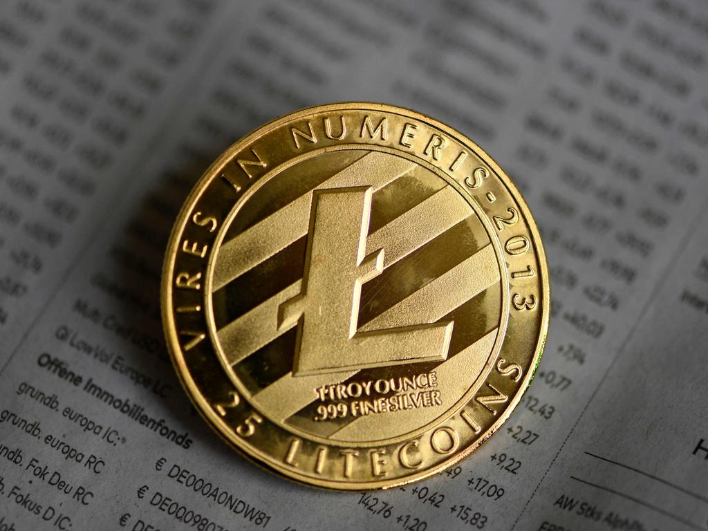 A physical imitation of a Litecoin in Dortmund, western Germany. Picture: Ina Fassbender/AFP