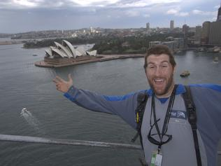 Nick on the Sydney Harbour Bridge. Picture: BridgeClimb
