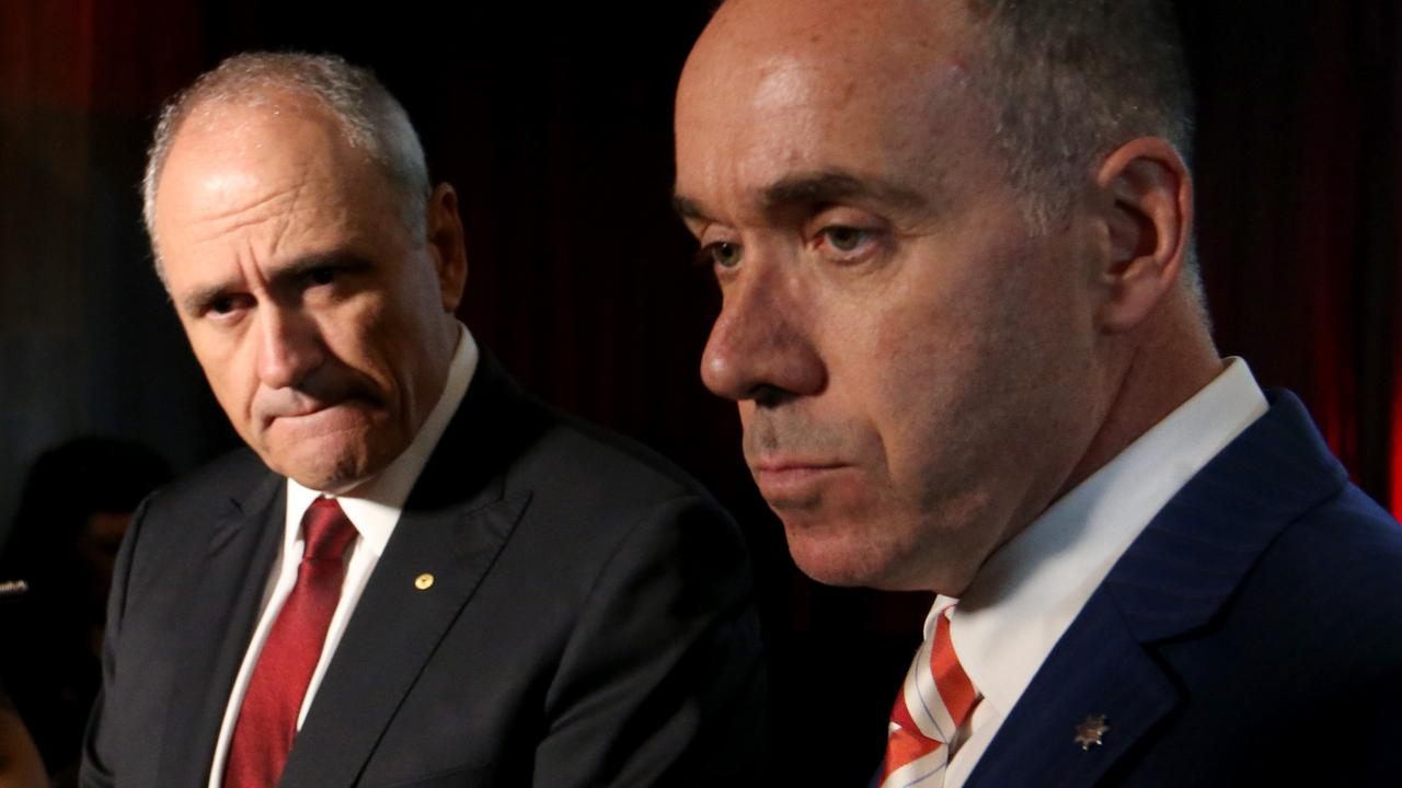 NAB Chairman Ken Henry and CEO Andrew Thorburn. Picture: David Geraghty
