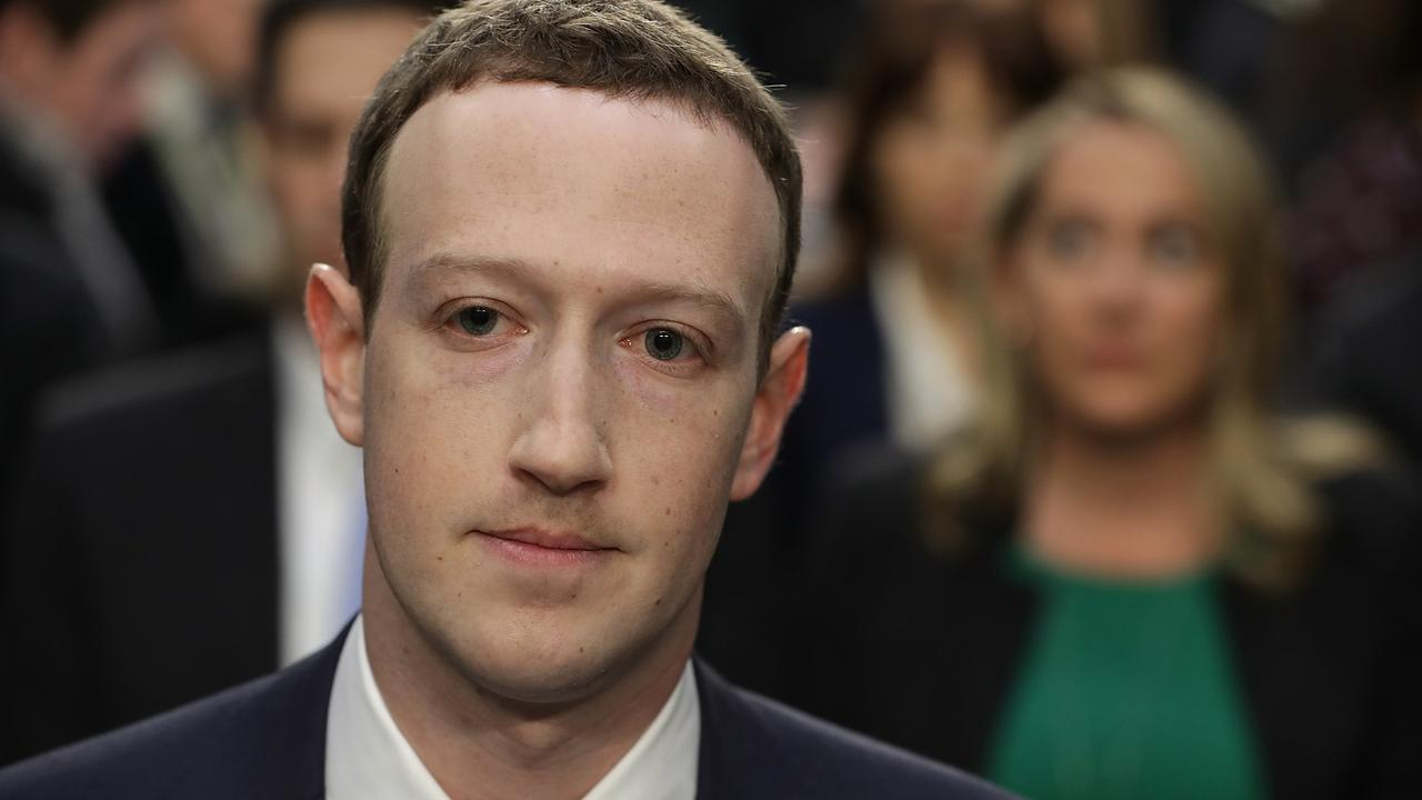 A visibly rattled Mark Zuckerberg pictured during his Cambridge Analytica testimony. Picture: Chip Somodevilla/Getty Images/AFP