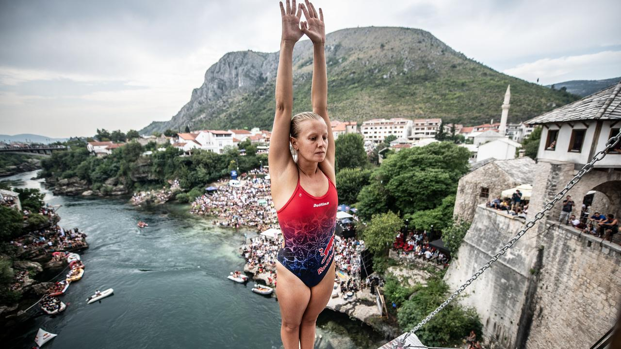 Rhiannan Iffland of Australia prepares to dive from the 21m platform. Picture: Red Bull via Getty Images