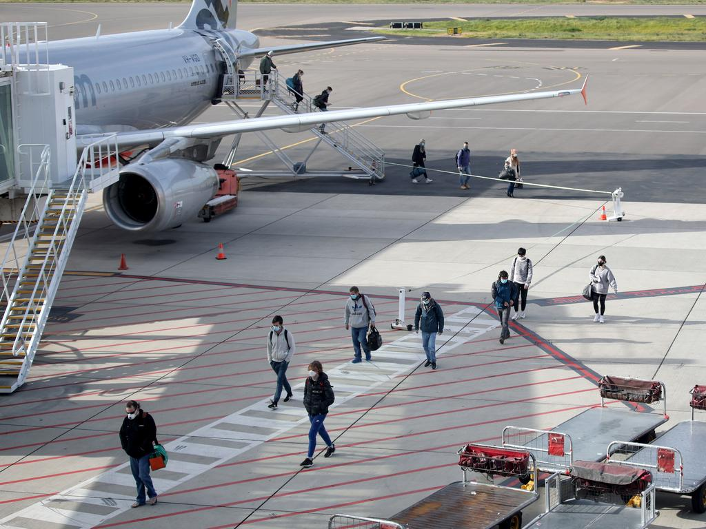 Passengers arriving at Adelaide Airport. Picture: NCA NewsWire / Kelly Barnes
