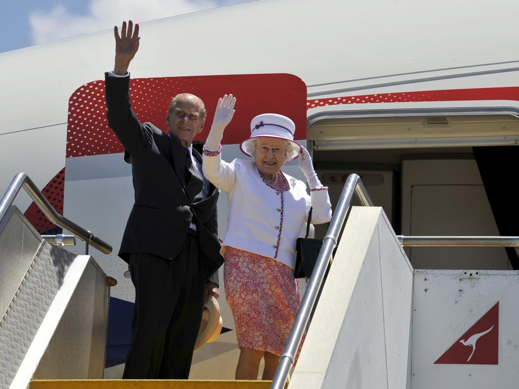 Queen Elizabeth II and The Duke of Edinburgh Prince Philip depart Perth for London following a visit to open the Commonwealth Heads of Government Meeting on October 29, 2011.