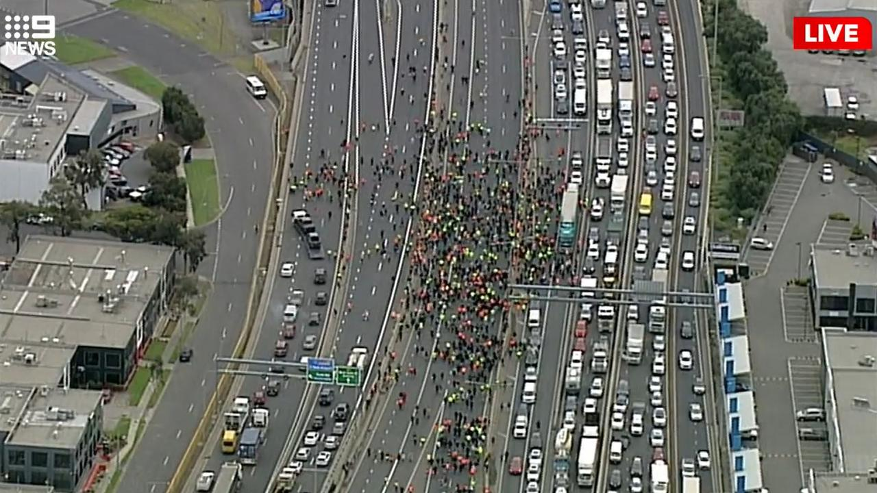 Anti-vax protesters block the West Gate Freeway on Tuesday. Picture: 9 News