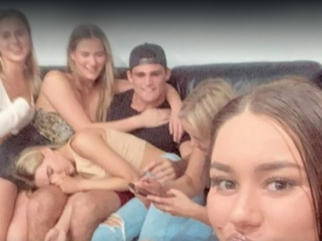 Penrith Panthers halfback Nathan Cleary got into hot water last month after pictures of him appearing to break social distancing laws surfaced on social media. Picture: Channel 9