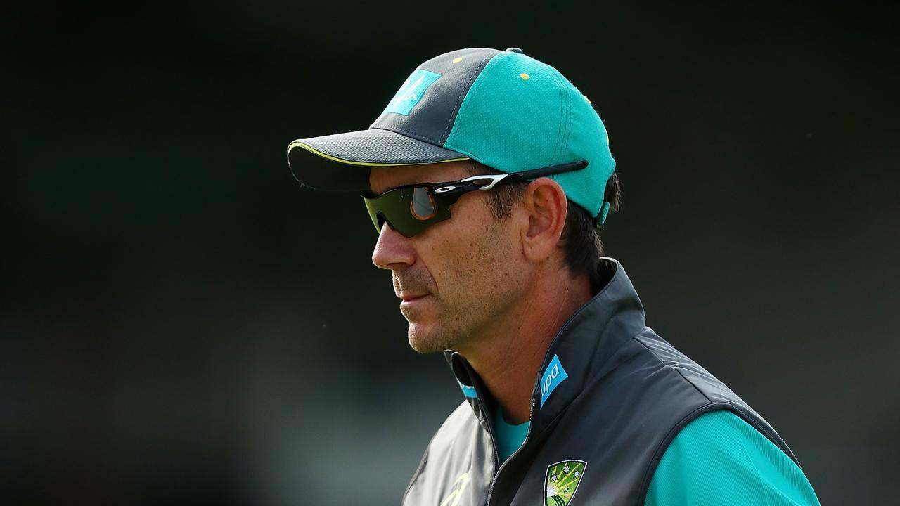 Justin Langer looks on during an Australian ODI training session in Brisbane.