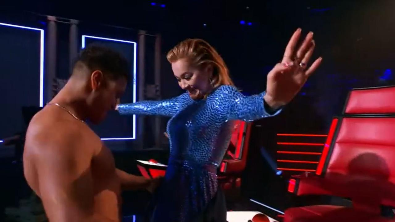 The international superstar was loving it. Picture: Channel 7