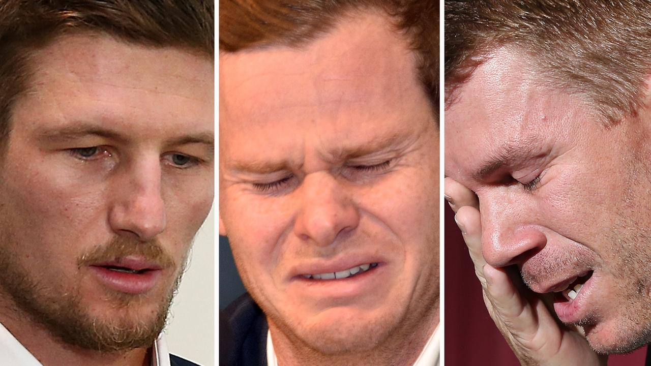Cameron Bancroft, Steve Smith and David Warner were reduced to tears over their roles in the cricket ball tampering scandal.