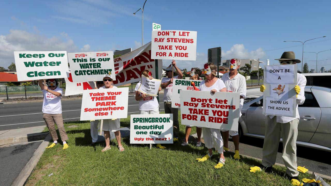 Pictured at Nobby Beach The Cableway No Way (CWNW) protestors. Picture Mike Batterham
