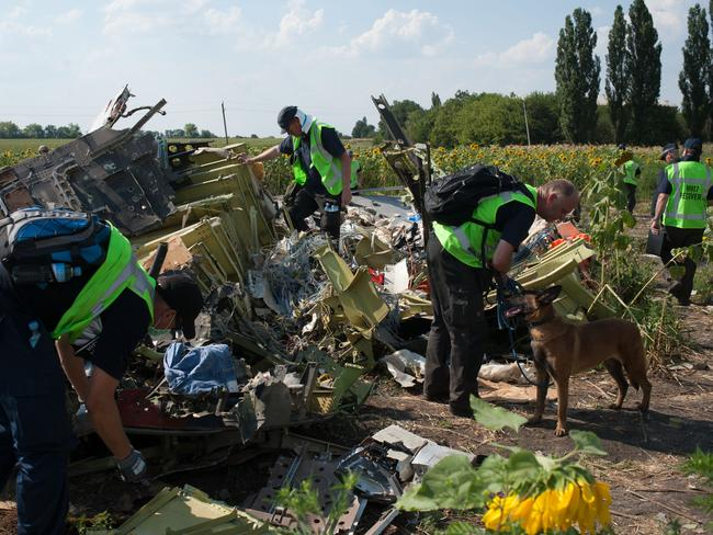 Wreckage examined in detail ... Investigators at the site where Malaysia Airlines Flight MH17 was shot down. Picture: AP