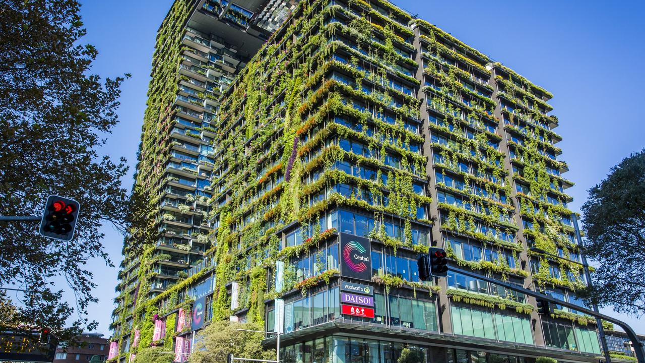 Planting on the side of buildings, such as here at Central Park in Chippendale in Sydney, is part of the plan to green Australia's suburbs. Picture: Anna Kucera/Destination NSW