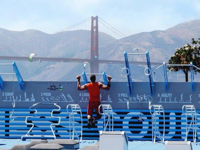 NATIONAL FITNESS CAMPAIGN FITNESS COURT, SAN FRANCISCOMade out of 30 pieces of bodyweight equipment, this outdoor gym means you can sculpt while soaking up the surrounds of San Francisco Bay. Picture: National Fitness Campaign