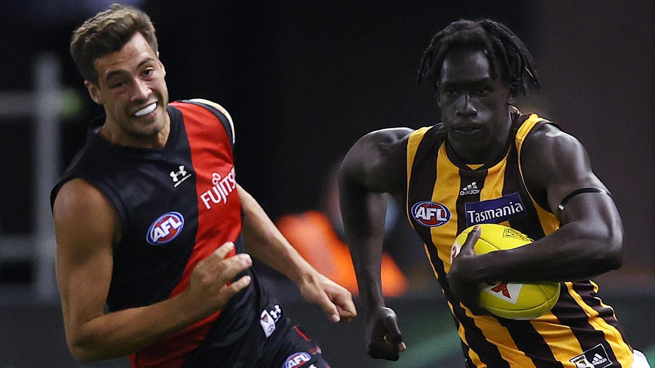 AFL Round 1. 20/03/2021.Essendon v Hawthorn at the Marvel Stadium, Melbourne. Changkuoth Jiath of the Hawks . Pic: Michael Klein
