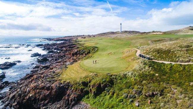 5/11Cape Wickham, King Island, Tas Completed in December 2015, Cape Wickham rocketed to No. 24 on US golf bible Golf Digest's World Top 100 courses three months later. It's built within the coastline – not beside it. On the 18th hole, you hit over surfers on your drive, while the 11th green is swamped by water on a big sea. All 18 holes involve the sea: eight run right alongside it, two have greens on it and three have tees beside it. Huge Southern Ocean swells crash on to reef, the explosions sift spray through the air. But that's the sort of thing you'll find all over King Island. Famed for its wild surf and rolling pastures where Australia's most premium dairy cows feed, it's about 80km from the Tasmanian and Victorian coastlines, accessed by air.