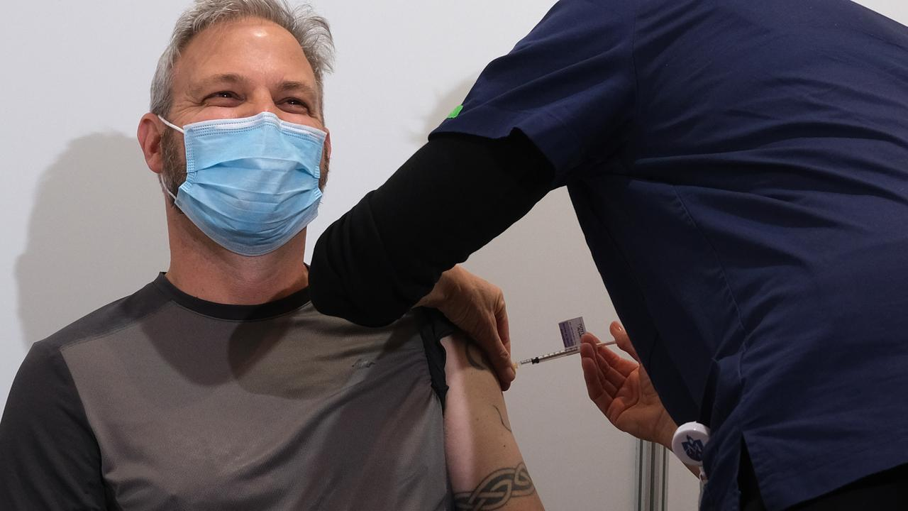 The Victorian chief health officer received his first dose of the AstraZeneca vaccine on Wednesday. Picture: Luis Ascui / Getty Images