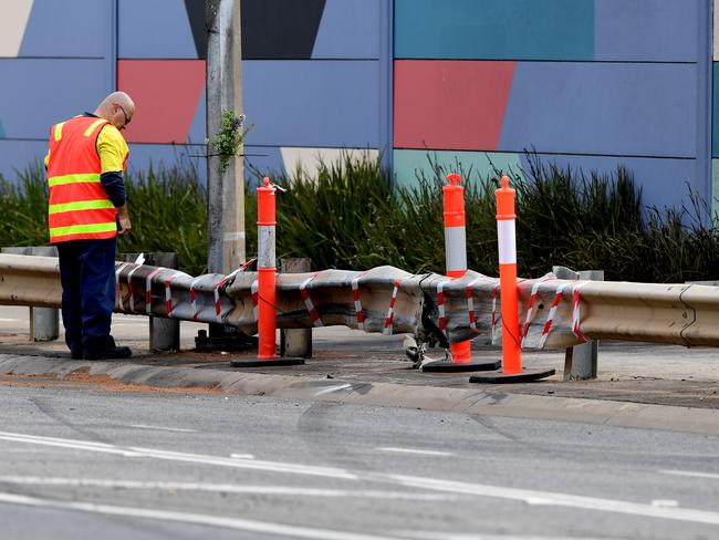 The scene where two cars collided on Christmas Eve killing three people, on Palmers Road, Point Cook in Melbourne. Picture: Joe Castro/AAP