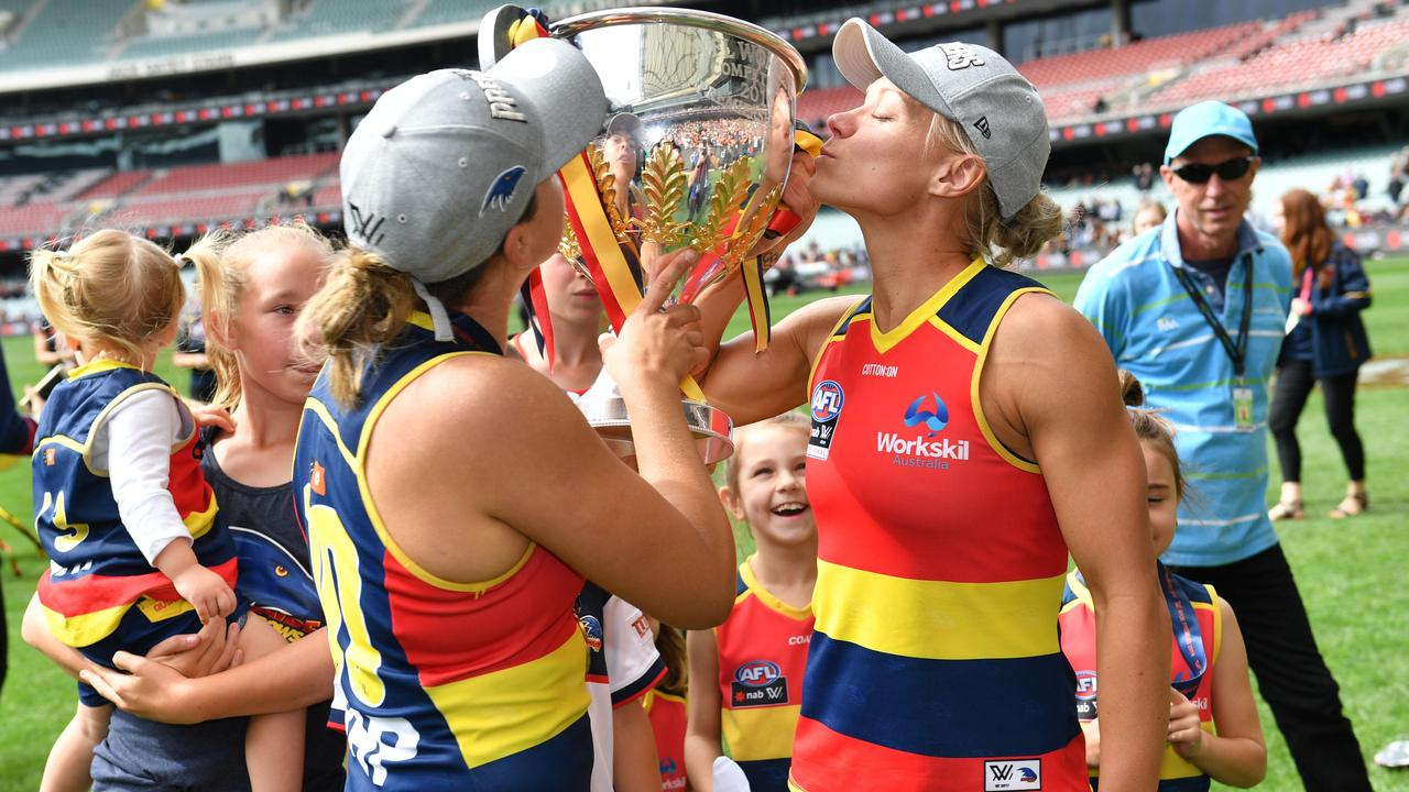 Ebony Marinoff and Erin Phillips after the 2019 AFLW Grand Final. Picture: Keryn Stevens