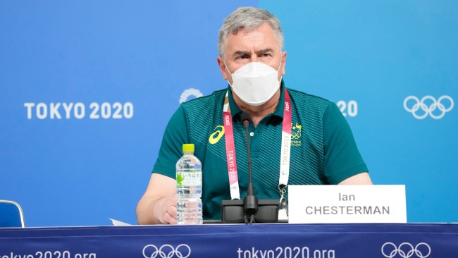 TOKYO, JAPAN - JULY 14: Australian Olympic Team Chef de Mission Ian Chesterman attends a press conference ahead of the Tokyo Olympic Games at the Main Press Center on July 14, 2021 in Tokyo, Japan. (Photo by Ken Ishii/Getty Images)