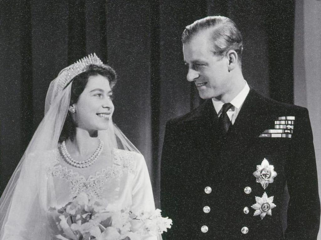 The royal couple on their wedding day in July 1947.