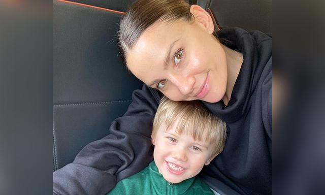 Rachael Finch gives son Dom haircut