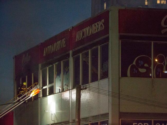 Firefighters battle a blaze in Buckhurst St, South Melbourne. Picture: Mark Stewart