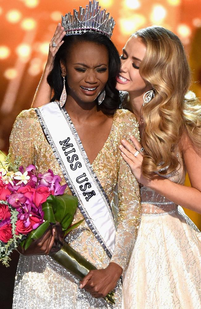 Miss District of Columbia USA 2016 Deshauna Barber reacts as she is crowned Miss USA 2016 by Miss USA 2015 Olivia Jordan during the 2016 Miss USA pageant. Picture: Ethan Miller/Getty
